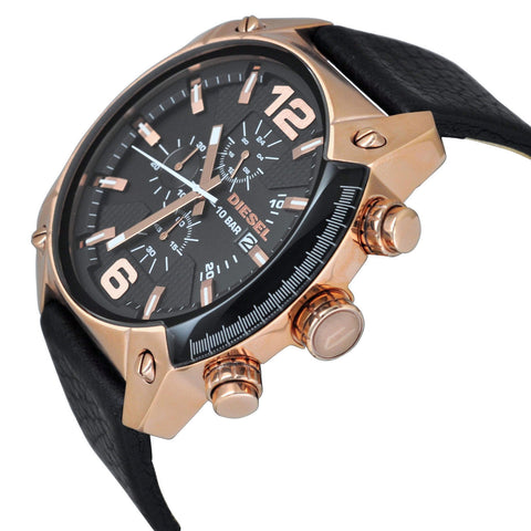 Diesel DZ4297 Overflow Rose Gold and Black Leather Mens Watch