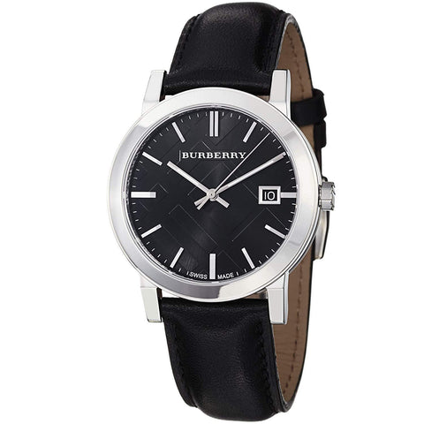 Burberry BU9009 Large Check Black Dial Swiss Made Mens Watch