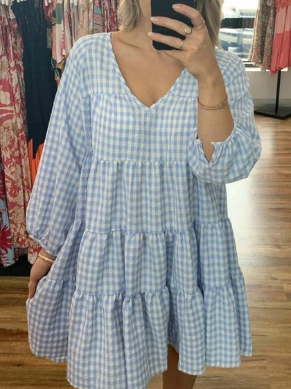 Sky Blue Gingham Dress