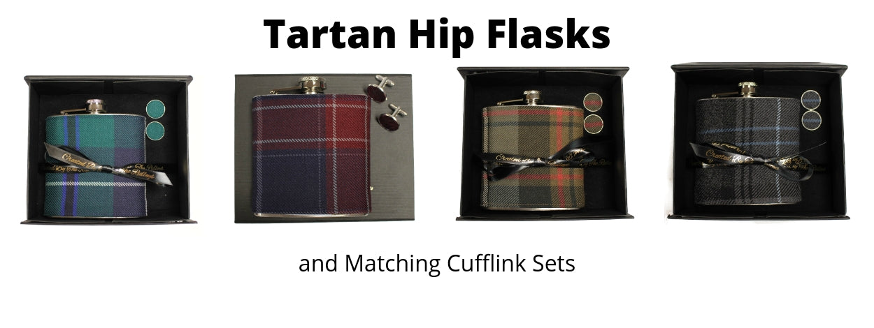 Tartan hip flasks & cufflink sets