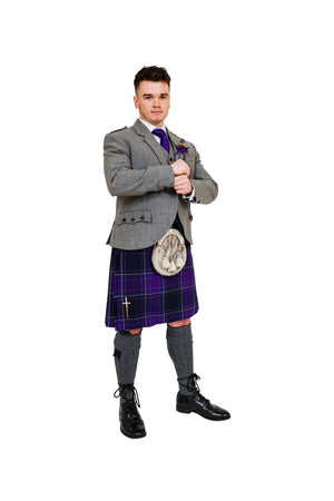 Light grey crail outfit with Galloway Heather tartan.