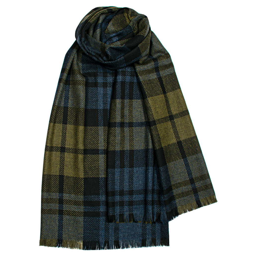 Brock Black Watch Olive Luxury Fine Wool Stole