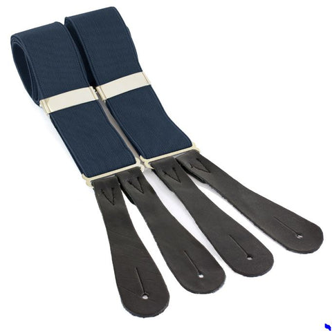 Navy Braces - Leather end