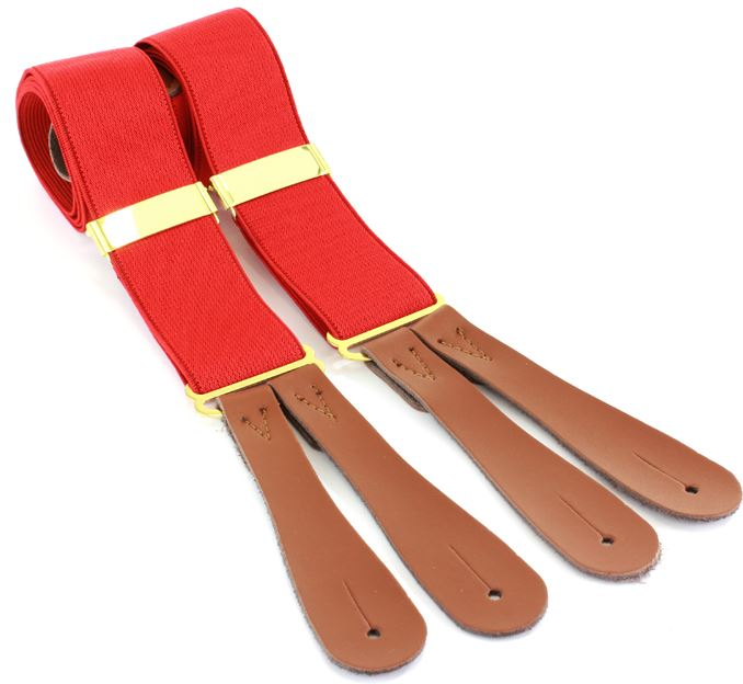Red Braces - Leather end - Anderson Kilts