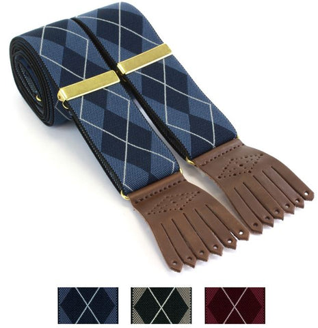 Tartan Braces - Leather Clip end