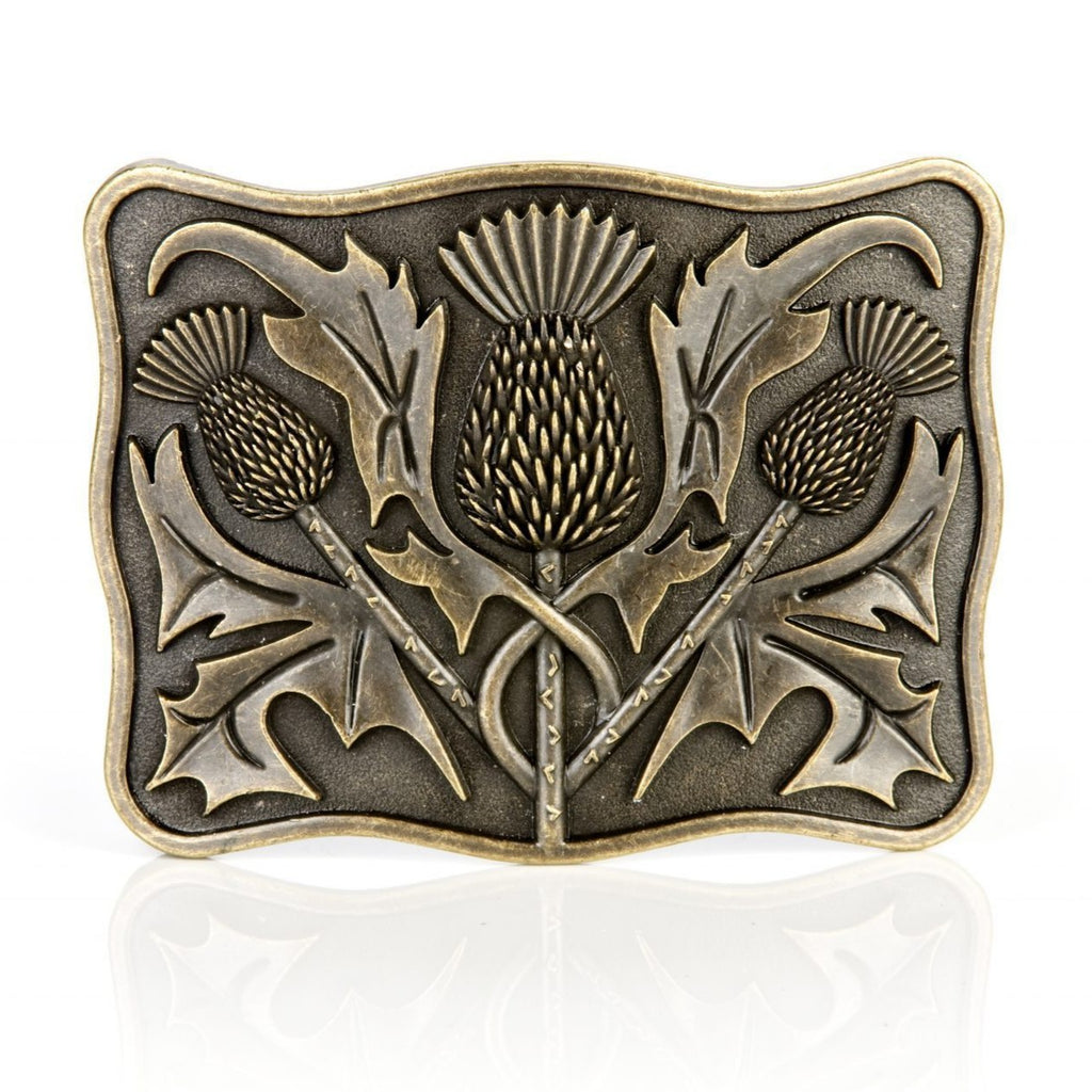 Antique Brass Thistle Buckle - Anderson Kilts
