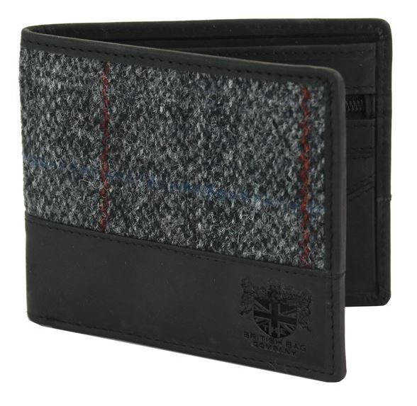 Harris tweed wallet - grey fabric
