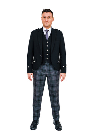 Black Argyll jacket with Highland Granite tartan trews - available to hire from Anderson Kilts Dumfries