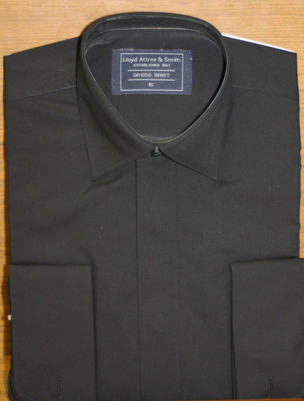 Boys Black Standard Collar Shirt