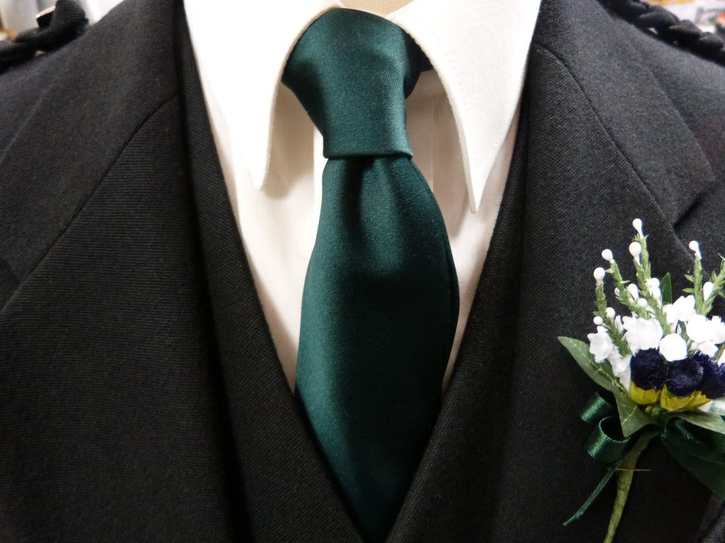 Bottle Green Satin Tie - Anderson Kilts