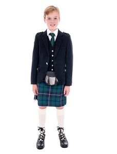 Boys Black Argyll kilt hire outfit with Modern Douglas tartan kilt. Available to hire from Anderson Kilts Dumfries