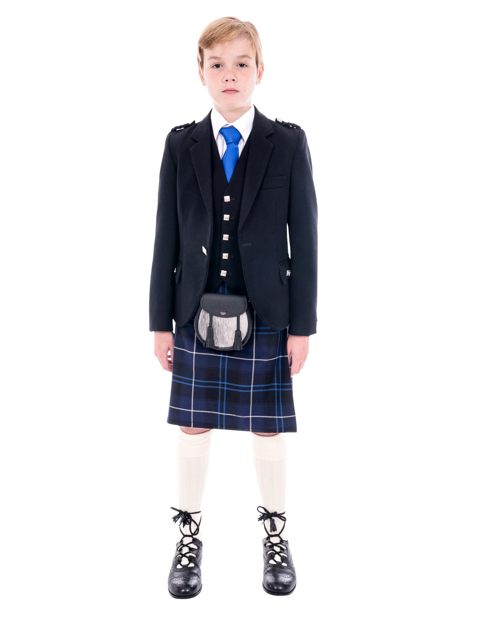Boys Black Argyll kilt hire outfit with Patriot tartan kilt. Available to hire from Anderson Kilts Dumfries