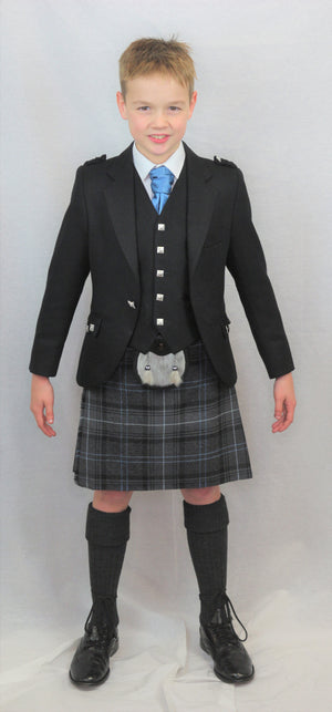 Boys Black Argyll kilt hire outfit with Highland Granite Blue tartan kilt. Available to hire from Anderson Kilts Dumfries
