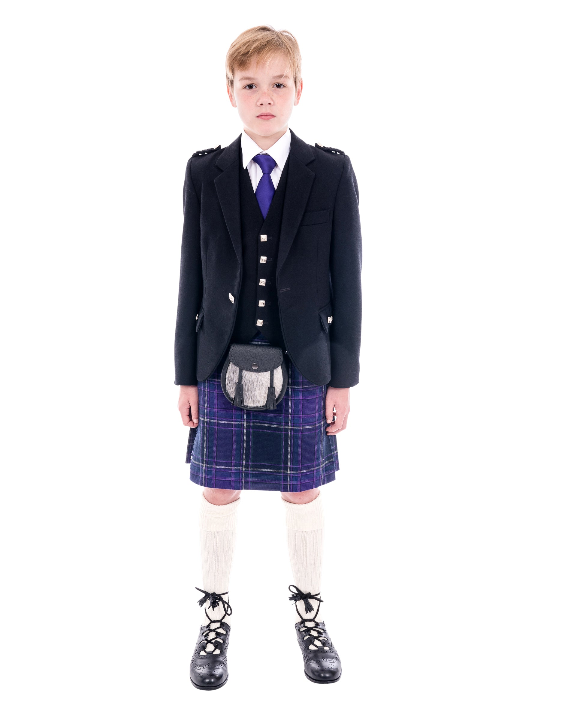 Boys Black Argyll kilt hire outfit with Galloway Heather tartan kilt. Available to hire from Anderson Kilts Dumfries