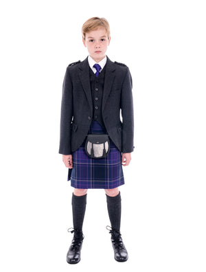 Boys Grey Tweed kilt hire outfit with Galloway Heather kilt - Anderson Kilts