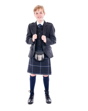 Boys Grey Tweed kilt hire outfit with Grey Galloway kilt - Anderson Kilts