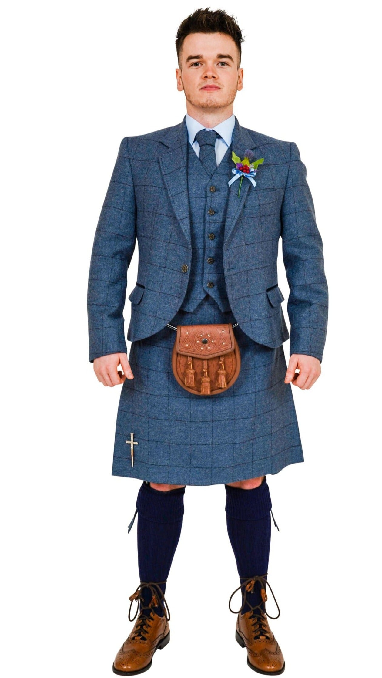Cairngorm Blue tweed kilt hire outfit  from Anderson Kilts Dumfries image 1