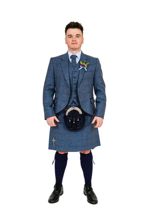 Cairngorm Blue tweed kilt hire outfit with navy dress sporran from Anderson Kilts Dumfries