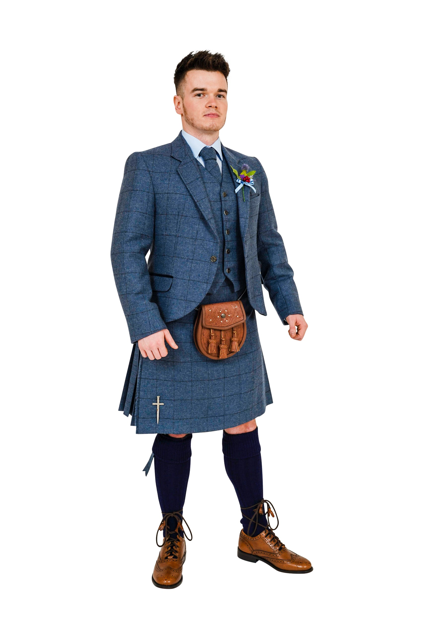 Cairngorm Blue tweed kilt hire outfit  from Anderson Kilts Dumfries image 2