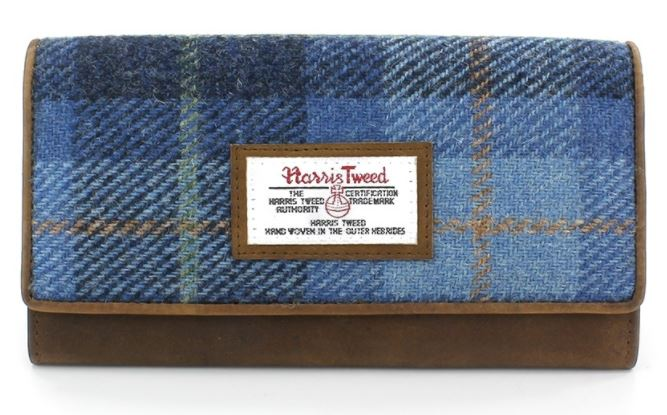 Castlebay blue Harris tweed large purse