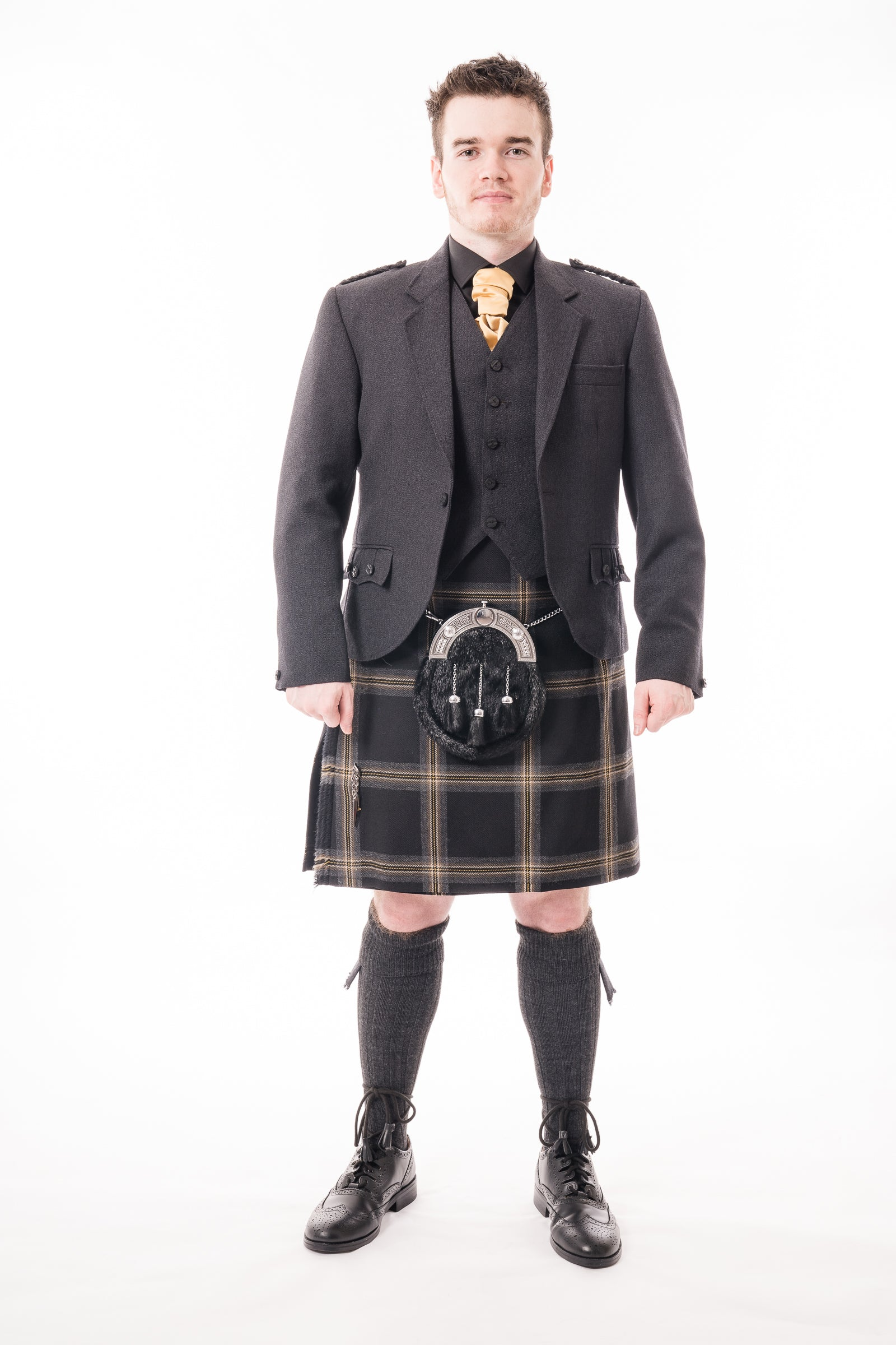 Charcoal crail kilt hire outfit with Black Galloway kilt from Anderson Kilts Dumfries
