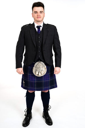 Charcoal crail kilt hire outfit with Galloway Heather tartan kilt from Anderson Kilts Dumfries