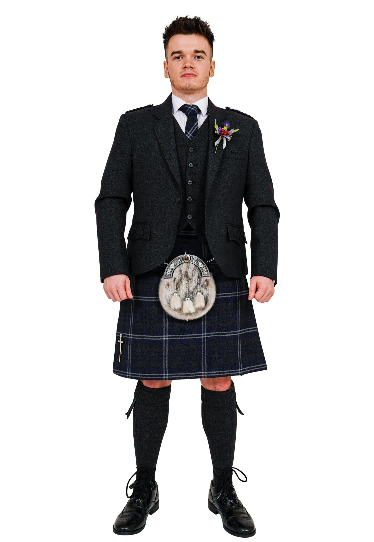 Charcoal crail kilt hire outfit with Grey Galloway kilt from Anderson Kilts Dumfries