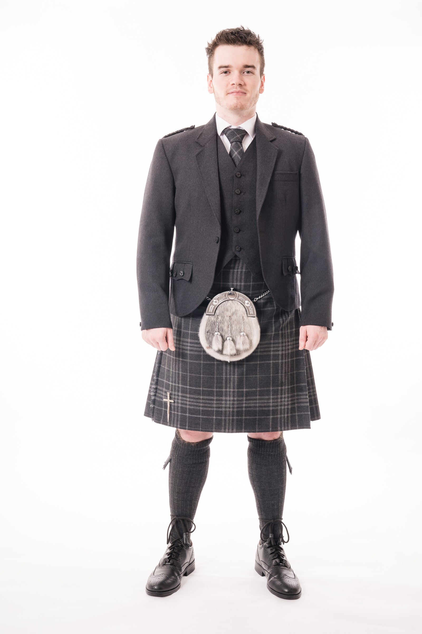 Charcoal crail kilt hire outfit with Hebridean Grey tartan kilt from Anderson Kilts Dumfries