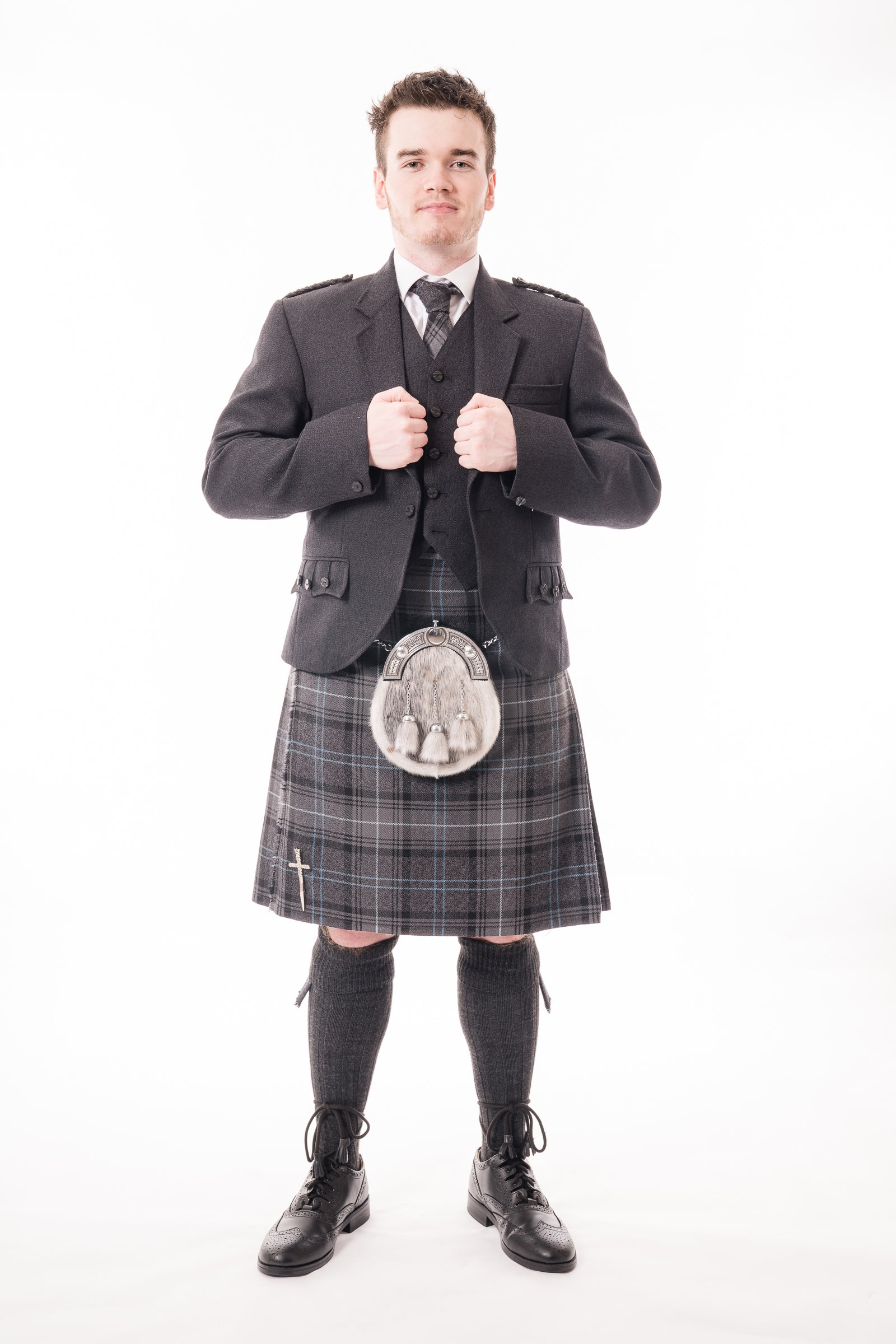 Charcoal crail kilt hire outfit with Highland Granite Blue kilt from Anderson Kilts Dumfries
