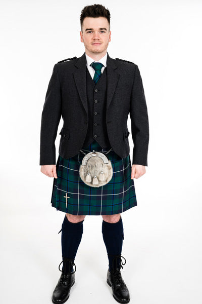 Charcoal crail kilt hire outfit with Modern Douglas kilt from Anderson Kilts Dumfries