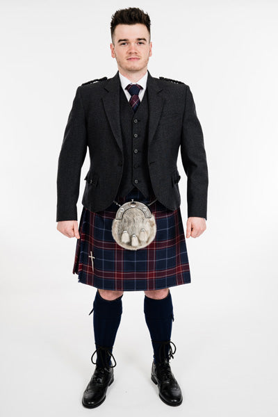 Charcoal crail kilt hire outfit with Queen of the South tartankilt from Anderson Kilts Dumfries