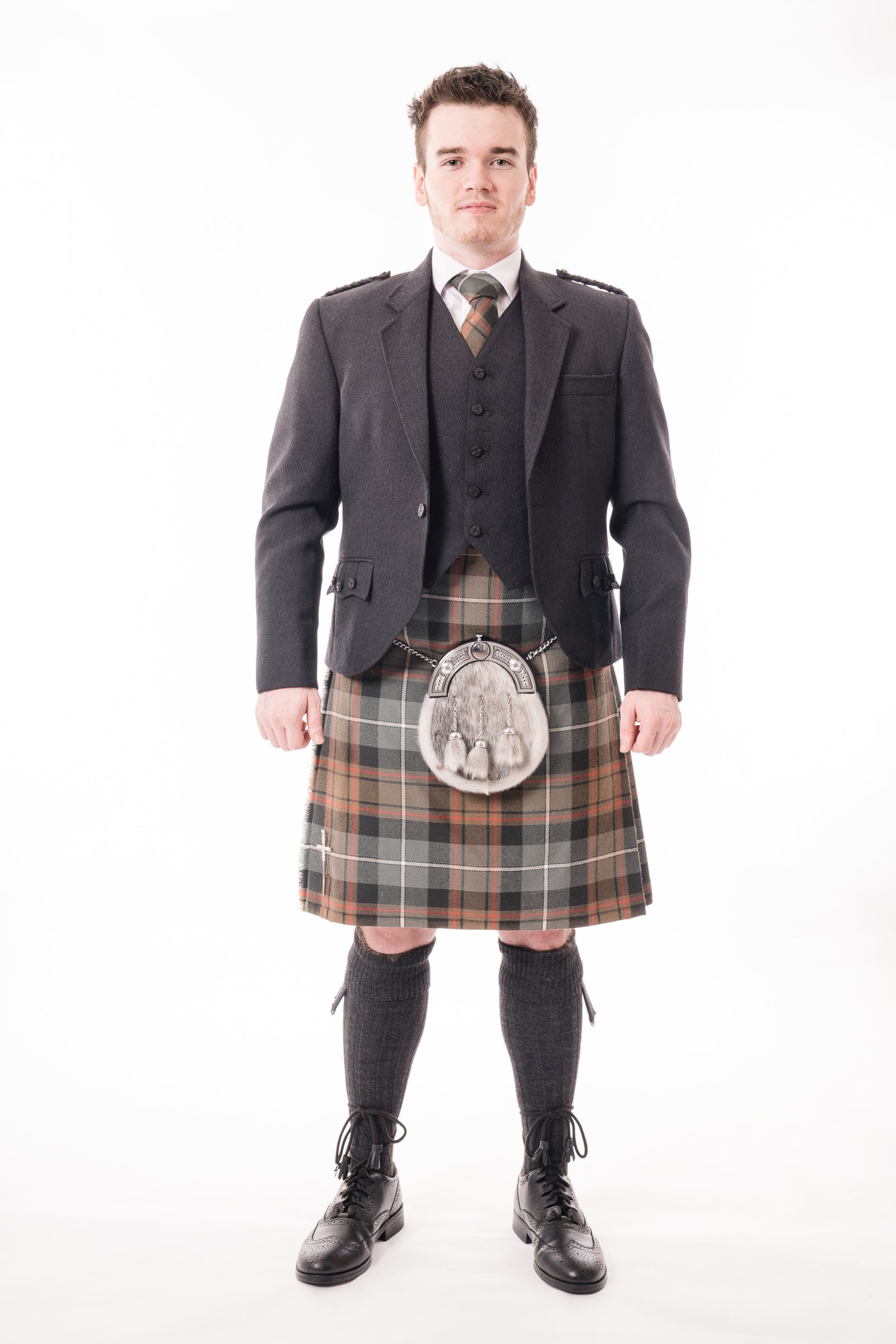 Charcoal crail kilt hire outfit with Weathered MacRae tartan kilt from Anderson Kilts Dumfries
