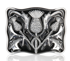 Chrome Black Enamel Thistle Buckle - Anderson Kilts