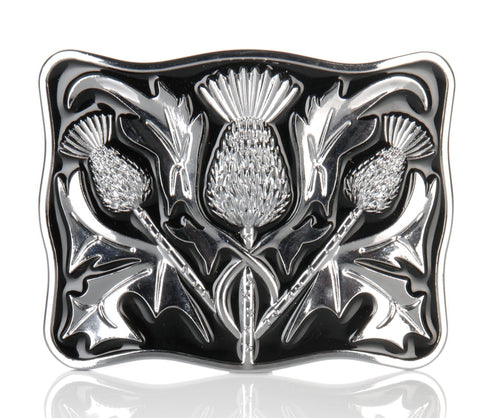 Chrome Black Enamel Thistle Buckle