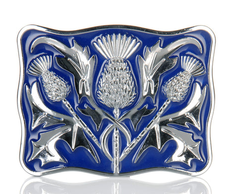 Chrome Blue Enamel Thistle Buckle