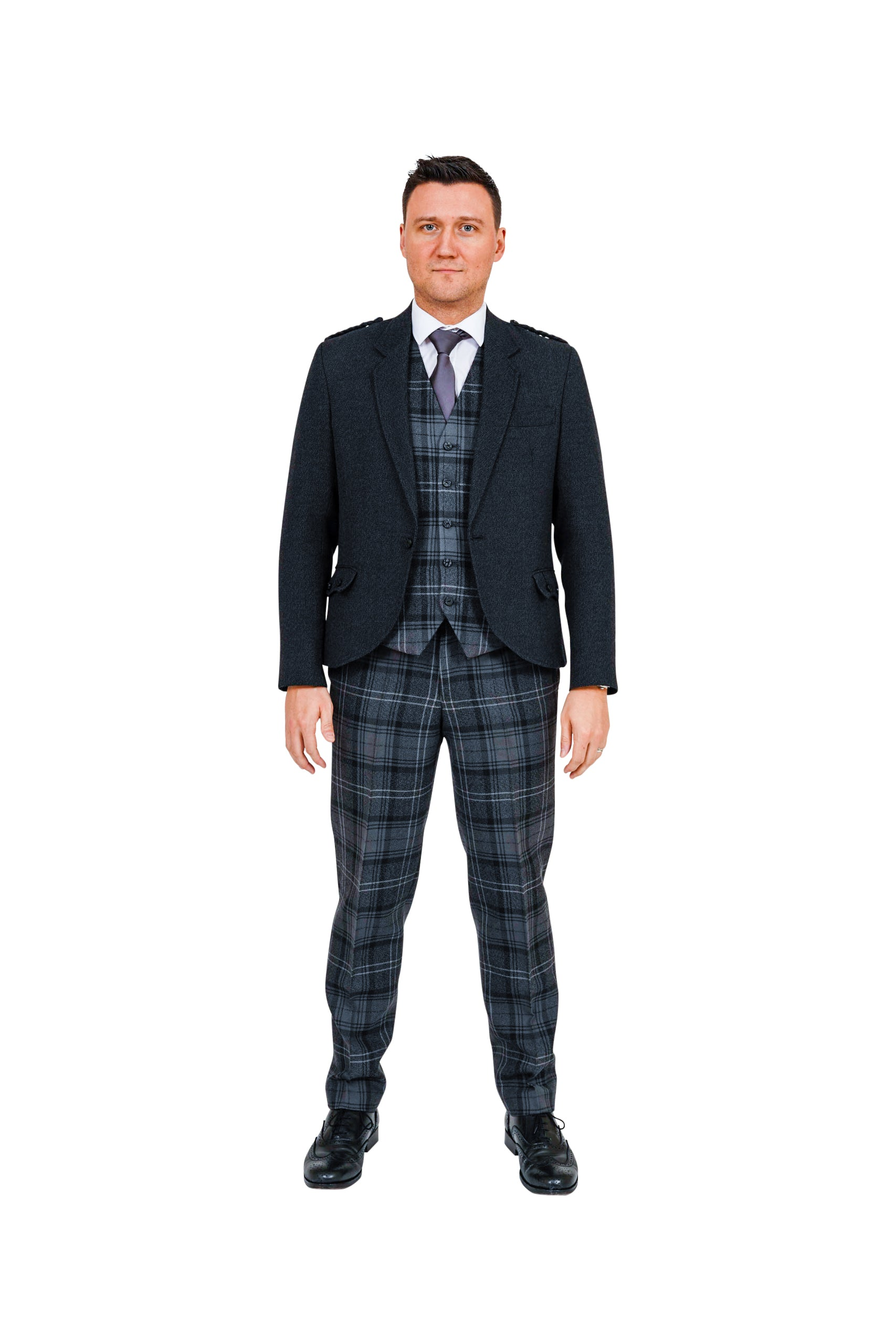 Charcoal crail jacket with Highland Granite tartan trews and waistcoat - available to hire from Anderson Kilts Dumfries