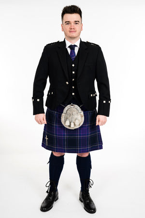 Black Argyll outfit with Galloway Heather kilt