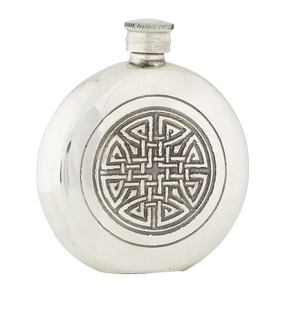Round Celtic Knot Sporran Flask - 4.5 oz