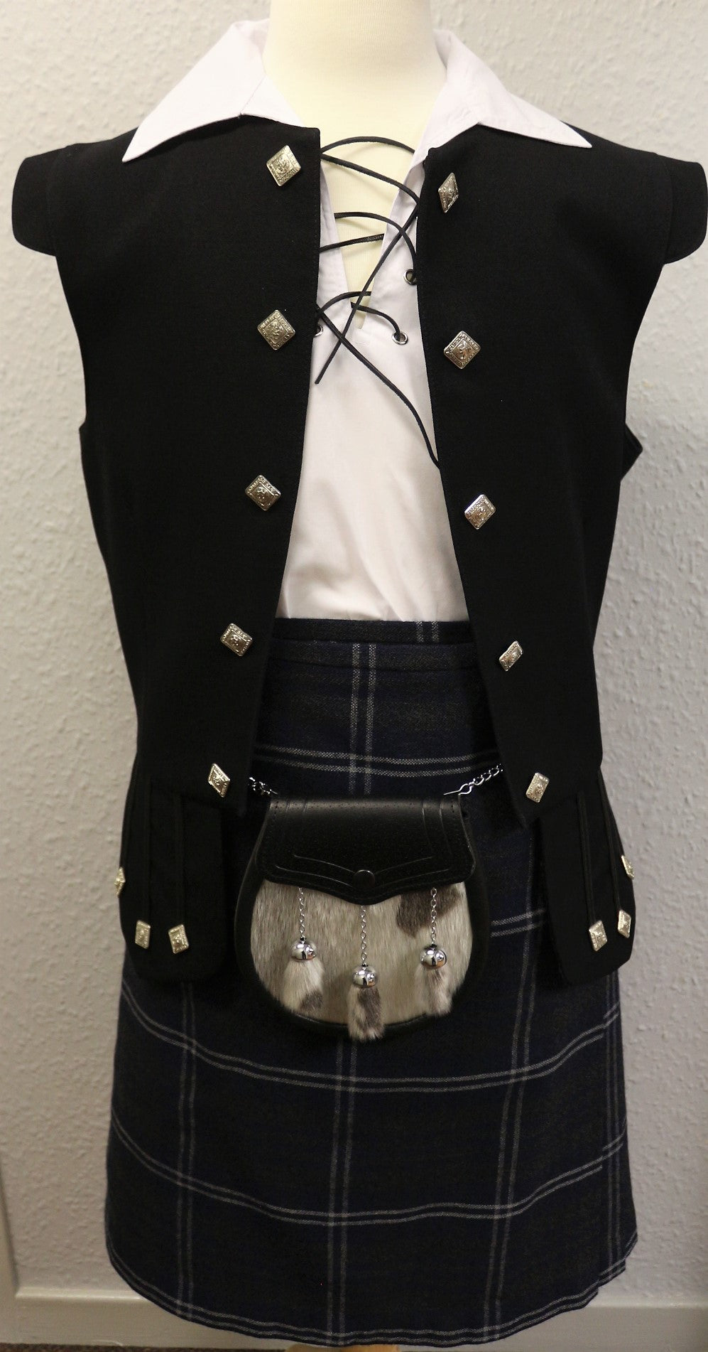 Boys Frontier kilt hire outfit with Grey Galloway tartan kilt  - Anderson Kilts