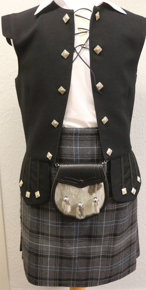 Boys Frontier kilt hire outfit with Highland Granite Blue tartan kilt  - Anderson Kilts