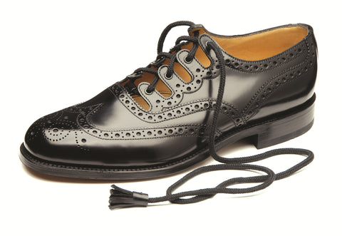 Loake Black Leather Ghillie Brogue