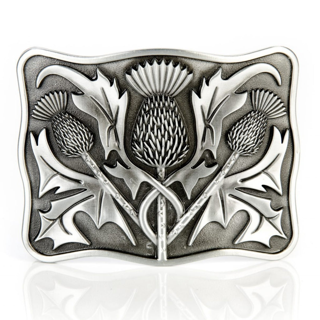 Gunmetal Thistle Buckle - Anderson Kilts