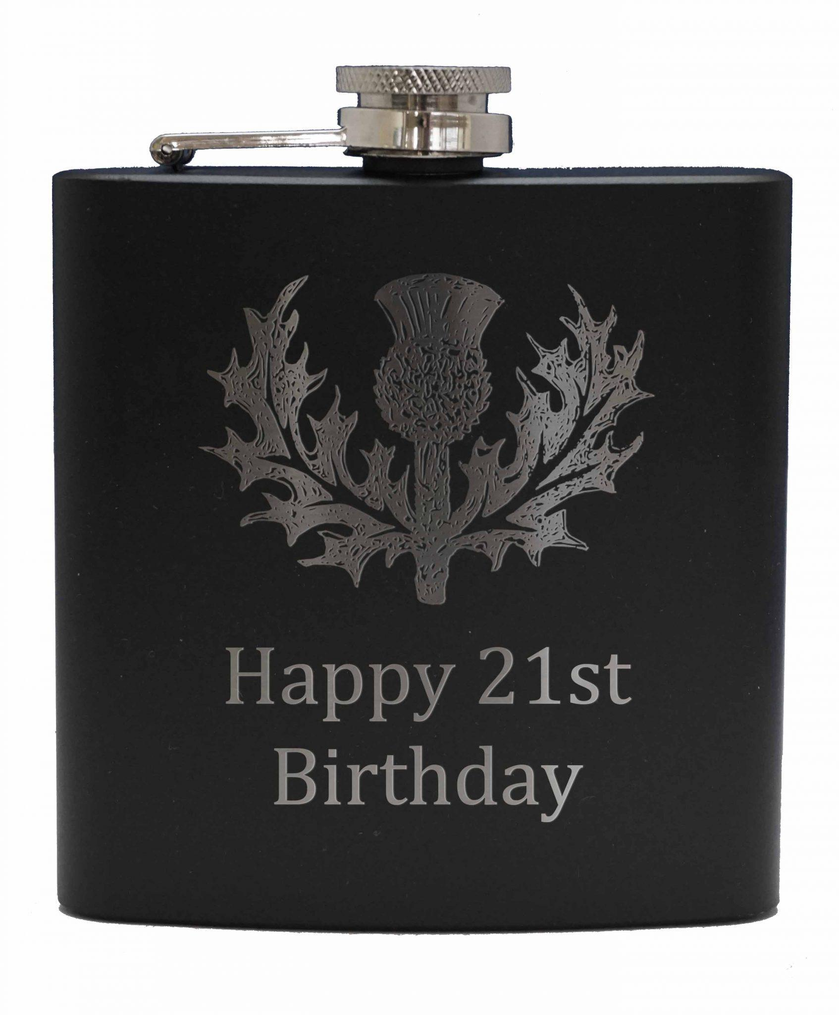 Engraved 6oz Black Hip Flask - Personal Message - Anderson Kilts