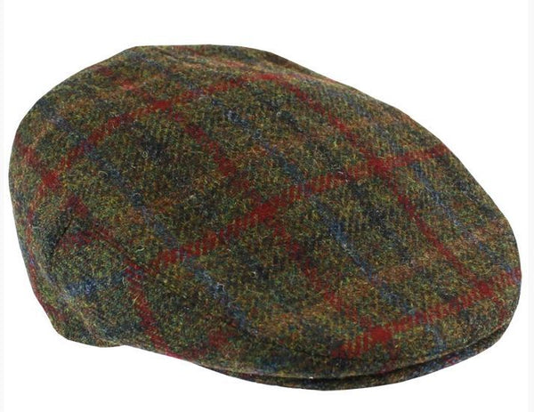 Harris tweed cap - green & red fabric - Anderson Kilts