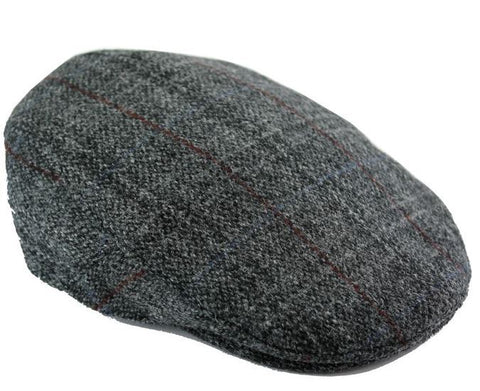 Harris tweed cap - grey fabric