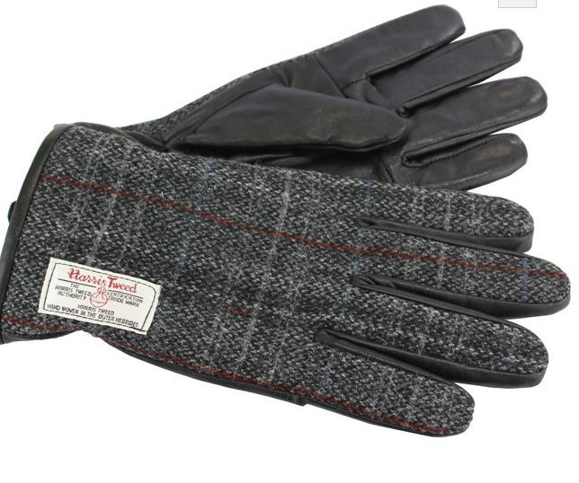 Harris tweed gloves - grey fabric