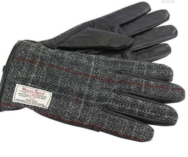 Harris tweed gloves - grey fabric - Anderson Kilts
