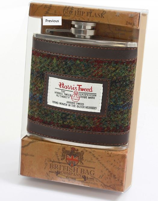 Harris tweed hip flask - Green & red fabric