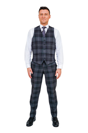 Highland granite tartan trews and waistcoat