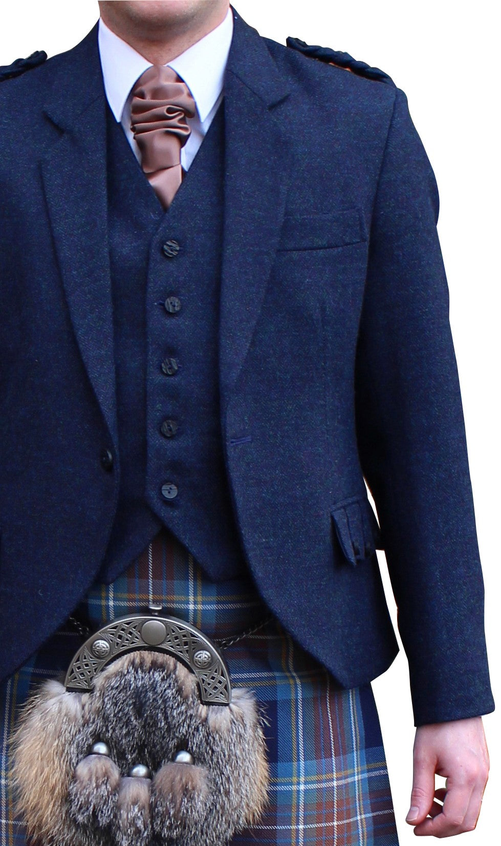 Midnight Blue Tweed Crail Jacket & Vest - Anderson Kilts